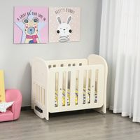 Qaba Baby Crib 3 in 1 Design Toddler Cot Cradle Beside Sleeping Cot with Storage Function Detachable Lockable Wheels for Infant Newborn Age 0 to 3 Years Old,Pink