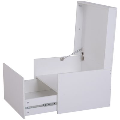 HOMCOM Ample Capacity Shoe Cabinet Box Bench w/ Drawers Particleboard White