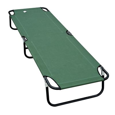 Outsunny Portable Camping Bed Camp Cot Easy Set Up Army Cot Outdoor Indoor, Green
