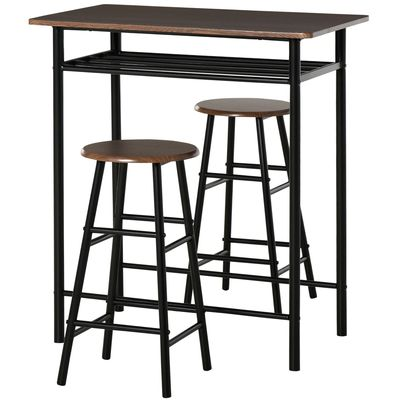 HOMCOM 3 Piece Counter Height Table Chair Set with 1 Table, 2 Matching Stools, Storage Shelf and Metal Frame Footrest, Black and Oak