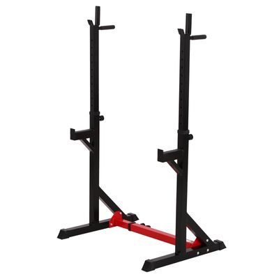 Soozier Barbell Rack Stand Squat Rack Heavy Duty Steel Construction Adjustable Squat Rack for Home Gym Fitness, Black