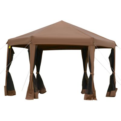 Outsunny 12.5' Pop Up Gazebo Hexagonal Canopy Tent Outdoor Shelter Pavilion Sun Protection with Mesh Sidewalls, Handy Bag, Dark Brown