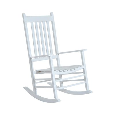 Outsunny Porch Rocking Chair Classic Wood Rocker Leisure Seat White
