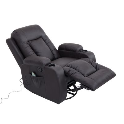 HOMCOM Faux Leather Vibrating Massage Recliner Chair with Remote Brown (No Heat)