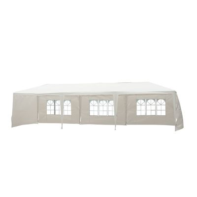 Outsunny 10'x30' Portable Wedding Party Tent Outdoor Event Camping Gazebo Canopy with 5 Removable Sidewalls, White
