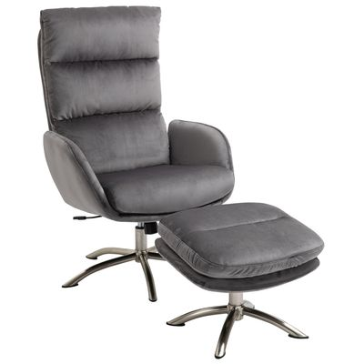 HOMCOM 2 Pieces Leisure Chair and Ottoman with Sponge Padding Metal Base Home Office
