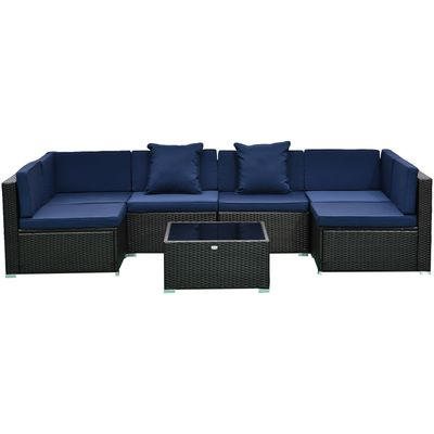 Outsunny 7pc Garden Wicker Sectional Set w/ Tea Table Patio Rattan Lounge Sofa  with Cushion Outdoor Deck Furniture All Weather Deep Blue