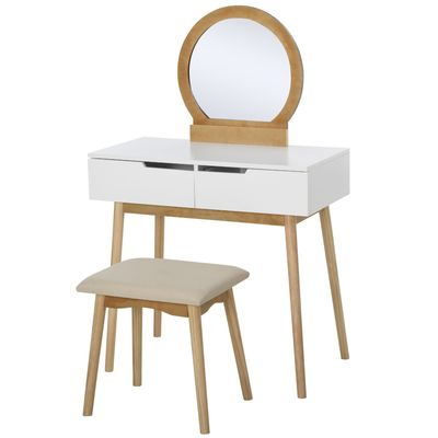 HOMCOM Vanity Table Set with Round Mirror 2 Large Drawers with Sliding Rails Makeup Dressing Table with Cushioned Stool, Nature Wood and White
