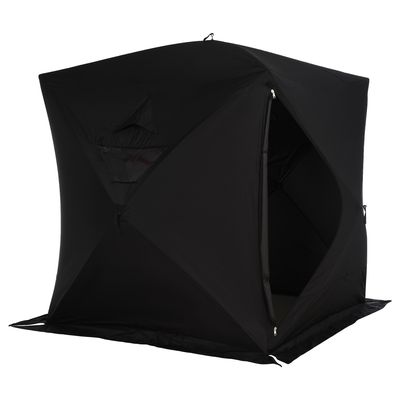 Outsunny 4 Person Waterproof Insulated Portable Pop-Up Ice Fishing Shelter With 2 Doors - Black