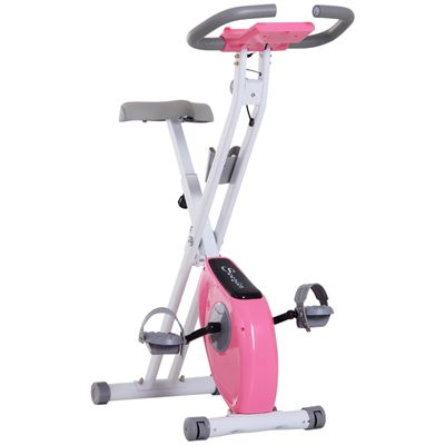 Soozier Foldable Exercise Bike with Adjustable Resistance  Digital Monitor with Tablet/Phone Holder for Health & Fitness  Pink