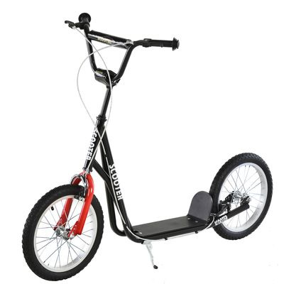 Aosom Youth Kids Kick Scooter Adjustable Handlebar Teens Ride On Toy For 5+ w/ Front and Rear Dual Brakes Inflatable Wheels Black