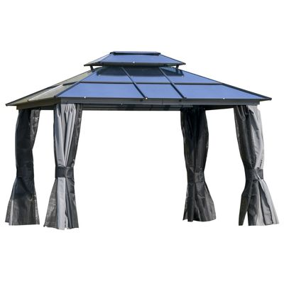 Outsunny 12' x 10' Polycarbonate Hardtop Gazebo Canopy Outdoor Double Tier Roof Aluminum Frame with Curtains, Netting Sidewalls Patio, Black