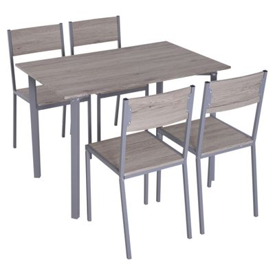 HOMCOM 5pcs Wooden Dining Set Wood and Metal Kitchen Table Set for 4 Chairs Modern and Sleek Dinette Home Furniture
