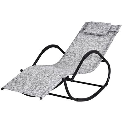 Outsunny Patio Rocking Lounge Chair Chaise Rocker Grey