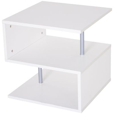 HOMCOM Wooden S Shape End Table 3 Tier Storage Shelves Organizer Living Room Side Table Desk White