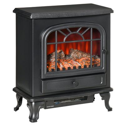 HOMCOM Freestanding Electric Fireplace Heater, Fireplace Stove with Realistic Flame Effect and Adjustable Temperature, Overheat Safety Protection, 750W/1500W, Black