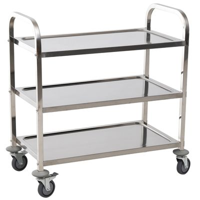 "HOMCOM 33"" 3-Tier Stainless Steel Rolling Kitchen Island Cart"