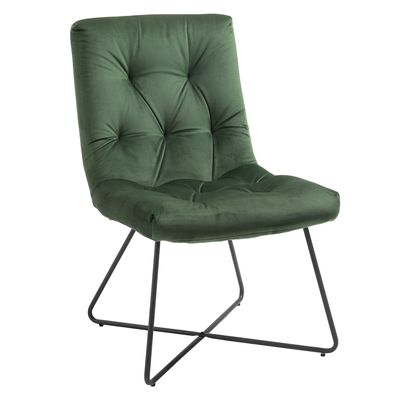HOMCOM Modern Comfort Style Leisure Accent Chair with X-Shaped Metal Base and Straight Back for Living Room  Dining Room  Office  Green