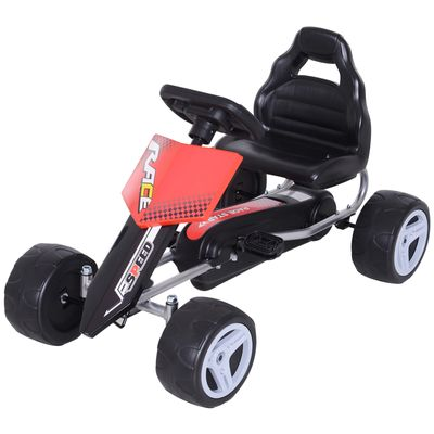 Aosom Kids Pedal Go Cart Children Ride On Car Racing Style Children Ride On Car Outdoor Racer Red