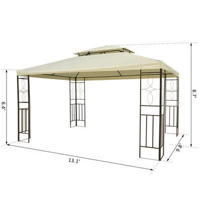 Outsunny 10x13ft Patio Outdoor Canopy Steel Gazebo Vented Roof Cream White