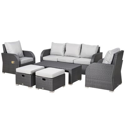 Outsunny 6pc Wicker Sectional Set Cushioned Outdoor Rattan 3-Seat Sofa, 2 Adjustable Recliners, 2 Footstools & Table Set Patio Furniture Grey