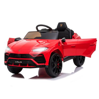 Aosom Kids Electric Ride On Compatible 12V Battery-powered Car Lamborghini Urus Toy for 3-6 Years Old Red