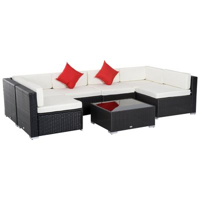 Outsunny 7 Pieces Garden Wicker Sectional Sofa Set Patio Outdoor Furniture All Weather with Cushion