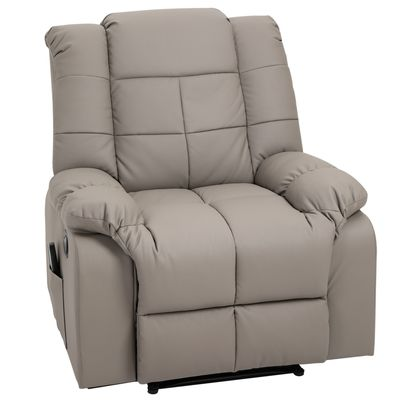 HOMCOM 8- Point Massage Sofa Manual Lift Recliner Footrest PU Leather W/ Remote Control