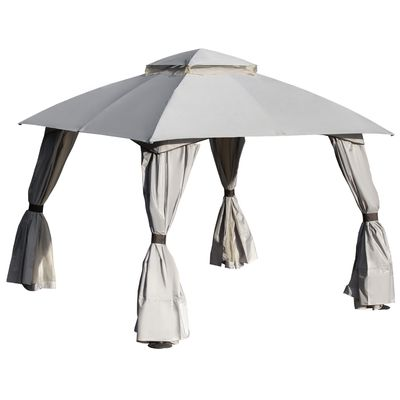 Outsunny 10' x 10' Steel Gazebo Canopy Party Tent Shelter with Double Roof & Curtains & Netting Sidewalls  Light Grey