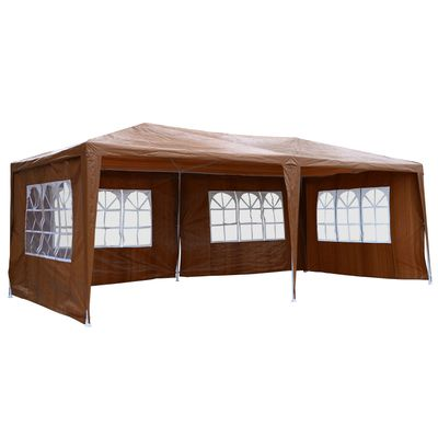 Outsunny 10' x 20' Wedding Party Tent Outdoor Event Camping Gazebo Canopy with 4 Removable Sidewalls (Coffee)