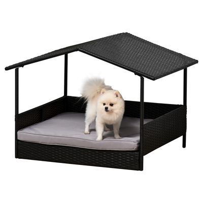Outsunny PawHut Elevated Rattan Dog Bed Pet Home Indoor Outdoor Wicker Dog Cot Dog House Pet Furniture Sofa Bed with Padded Cushion and Roof Shelter Grey