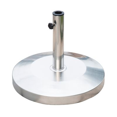 """Outsunny 19"""" Round Decorative Stainless Steel Umbrella Base Stand Holder Silver"""