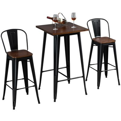 HOMCOM 3-Piece Dining Kitchen Set with 1 Table and 2 High Back Stool for Home Pub Cafe