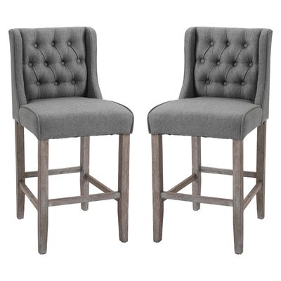 HOMCOM Set of 2 40Inch Button Tufted Barstools High Counter Dining Height Chairs Grey
