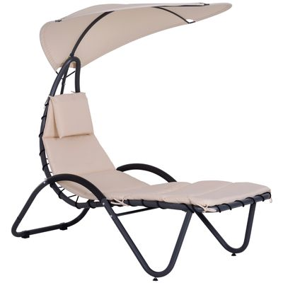 Outsunny Garden Lounge Chaise Arc Stand w/ Canopy Cream