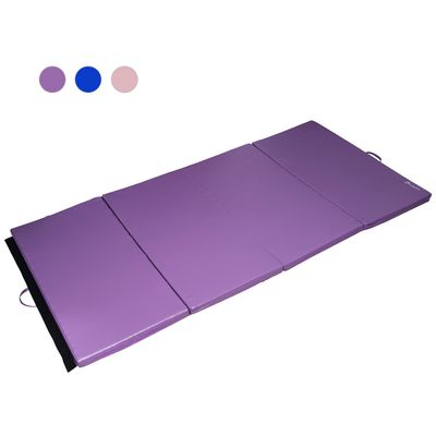 Soozier 4ftx8ftx2inch PU Leather Gymnastics Tumbling Gym Mat Arts Folding Yoga Exercise Pad 4 Panel Purple