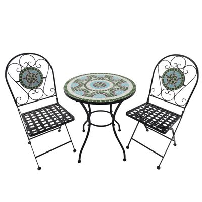 Outsunny 3pc Bistro Mosaic Set Dining Outdoor 2 Seater Folding Chairs
