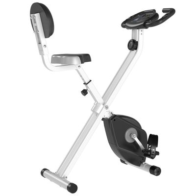 Soozier Foldable Upright Training Exercise Bike Indoor Stationary X Bike with 8 Levels of Magnetic Resistance for Aerobic Exercise, Black