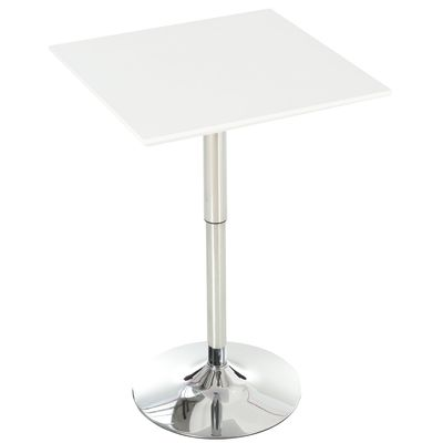HOMCOM Versatile Bar Table Pub Table Height Adjusted Rectangular Desk Steel Base Durable White