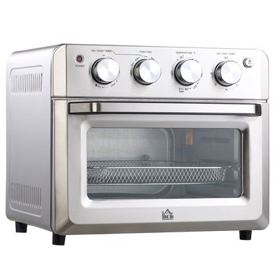 HOMCOM 7-in-1 Toaster Oven 21Qt 4-Slice Convection Oven with Warm Broil Toast Bake Air Fryer Setting 60min Timer Adjustable Thermostat 3 Crust Shades 4 Accessories 1550W for Countertop