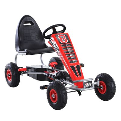 Aosom Kids Pedal Go Cart Children Ride On Car Racing Style W/ Adjustable Seat Rubber Wheels Handbrake Clutch Red