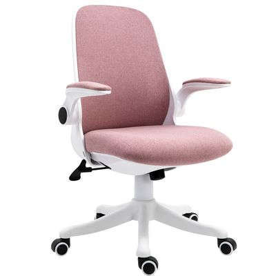 Vinsetto 360° Swivel Task Desk Office Chair Breathable Fabric Computer Chair with Flip-up Arms and Adjustable Height, Pink