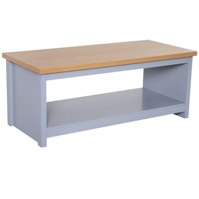 HOMCOM Coffee Table with Storage Shelf Vintage Grey