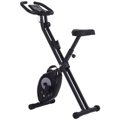 Soozier Foldable Exercise Bike with Adjustable Resistance, Digital Monitor with Tablet/Phone Holder for Health & Fitness, Black