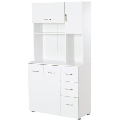 HOMCOM Freestanding Kitchen Pantry Cabinet Open Countertop with Doors  Drawers Shelves