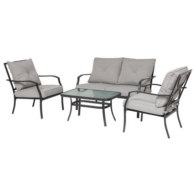 Outsunny 4 Pcs Metal Frame Garden Chatting Set w/ Sofa 2 Chairs Glass Top Table Foam Cushions