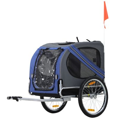Aosom Pet Bicycle Trailer Dog Cat Bike Carrier Blue and Grey