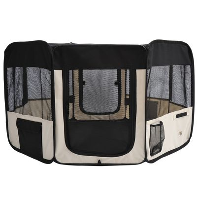 PawHut 49.2-inch Soft Pet Playpen Folding Tent Kennel Puppy Cat Dog Exercise Crate with Bag