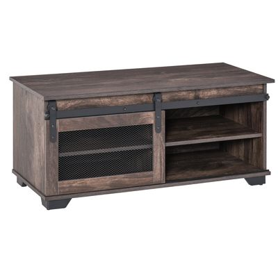 HOMCOM Farmhouse Coffee Table with Sliding Mesh Barn Door  Industrial Rustic Rectangular TV Stand for Living Room  Storage Cabinet with Adjustable Shelf  Dark Brown