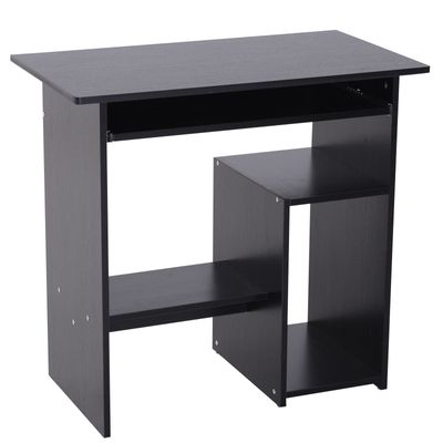 HOMCOM Compact Computer Desk with Keyboard Tray, Storage Shelf & CPU Stand for Home Office Black